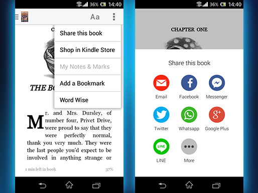 Kindle will share a book quote via WhatsApp and Facebook Messenger
