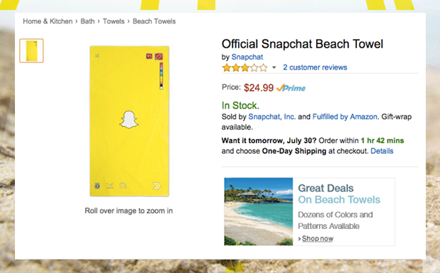 Can an official beach towel save Snapchat