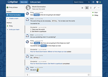 From Wunderlist to HipChat and back!