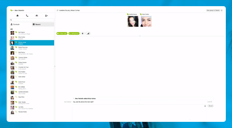 Skype instant messages exchange
