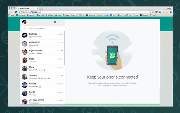 WhatsApp Web version for iOS